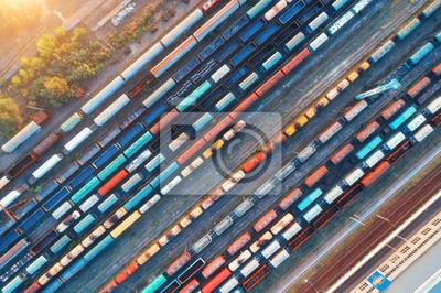 Odgórny widok kolorowi ładunków pociągi. Widok z lotu ptaka od latającego trutnia kolorowi pociągi towarowi na staci kolejowej. Wagony z towarami na kolei. Przemysł ciężki. Scena przemysłowa koncepcyj