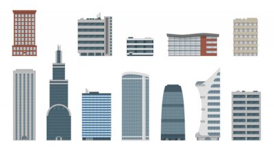 Obraz Office city building vector set in flat style. Commercial office, corporate, workplace buildings and skyscrapers. Isolated from backgroun
