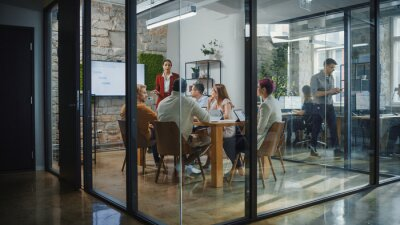 Obraz Office Conference Room Meeting: Female Chief Executive Talking to a Diverse Team of Professional Businesspeople. Creative People Listen to CEO Discuss Design, Data Analysis, Plan Marketing Strategy