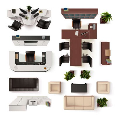 Obraz Office Interior  Elements Collection. Office Interior Vector Illustration. Office Interior Decorative Set.  Office Interior Design Set.Office Interior  Realistic Isolated Set. Office Interior Top View