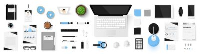 Obraz Office objects set isolated on white background. Working space. Top view of workplace desk. Realistic objects. View from above. Simple cute modern and stylish design. Flat style vector illustration.