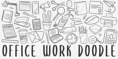 Obraz Office Work Doodle Line Art Illustration. Hand Drawn Vector Clip Art. Banner Set Logos.