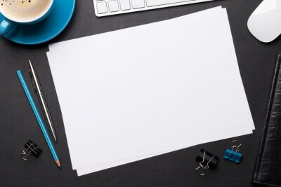 Obraz Office workplace table with blank paper page