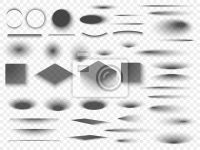 Obraz Okrągłe i kwadratowe izolowane podłogi przezroczyste cienie. Ciemny owalny cień i koło wektor odcienie
