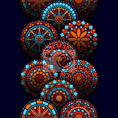 8eba7b378ce39f Obraz Okręgu kolorowe mandale kwiaty geometrycznych bez szwu granicy w niebieskim  czerwonym i pomarańczowym, wektor