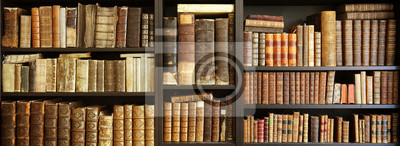 Obraz old books on wooden shelf