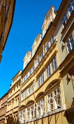 Old building with open windows in Prague Old Town, Czech Republic.