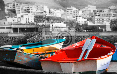 old colorful fishing boats in Puertito de Sardina fishing village, Grand Canary island