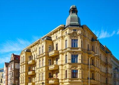 Old corner tenement houses on Slaska Street in Szczecin, Poland.