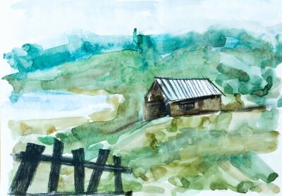 Obraz Old house in green forest, watercolor painting