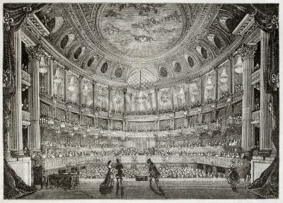 Obraz Old illustration of Royal Opera of Versailles. Created by Davioud, published on Magasin Pittoresque, Paris, 1850