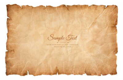 Obraz old parchment paper sheet vintage aged or texture isolated on white background