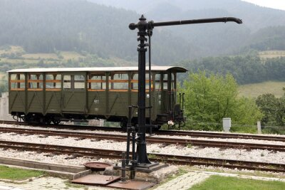 old railway station with wooden wagon