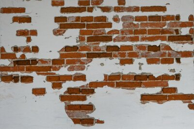 Obraz Old red brick wall partially plastered and white painted, background texture for historical architecture concepts, copy space