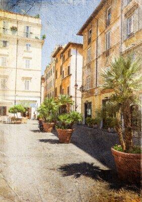 Obraz Old Street w Rzymie. Włochy. Obraz w artystycznym stylu retro.