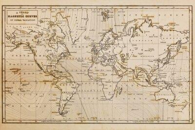 Obraz Old wyciągnąć rękę rocznika mapie świata
