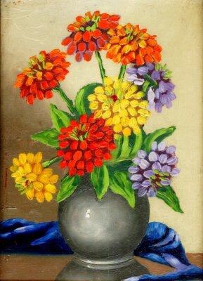 Obraz Olej na płótnie: bukiet kwiatów w wazonie gliny