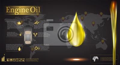 olej silnikowy na tle mapy świata, infografiki samochodu