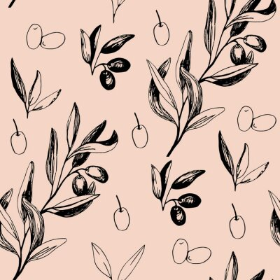 Olives seamless pattern with olive branches and fruits for Italian cuisine design or extra virgin oil food or cosmetic product packaging wrapper. Hand drawn Illustration in vector.