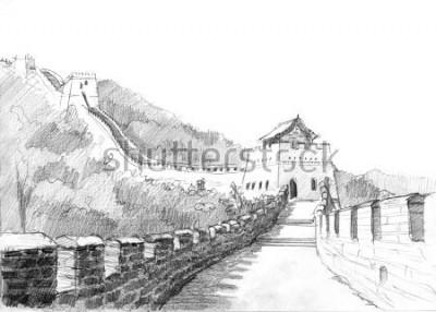 Obraz Ołówkowy rysunek wielki mur Chiny w górach