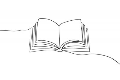 Obraz One continuous line book drawing. Modern outline doodle open book, hand drawn flying pages. Vector illustration