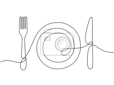 Obraz One line art. Plate knife, fork continuous outline drawing. Decoration for cafe or kitchen, restaurant or menu. Cutlery vector illustration. Plate drawing outline with dishware contour