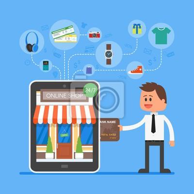 Online pojęcie zakupy mobilne. Ilustracja wektora w stylu płaskiej konstrukcji. Płatności w Internecie.