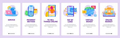 Online shopping concept icon set. Support by phone, pos terminal, pay by credit card. Mobile app screens. Vector banner template for website and mobile development. Web site design illustration