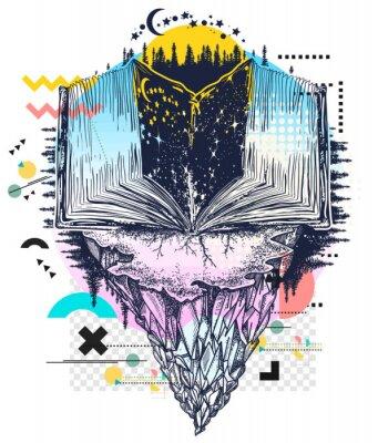 Obraz Open book in universe. Symbol of wisdom, education, knowledge, literatures. Zine culture concept. Hand drawn vector glitch tattoo, contemporary  cyberpunk collage. Vaporwave art