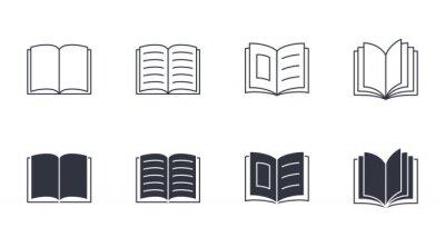Obraz Open book vector icons. Editable stroke. Magazine brochure storytelling reading. School knowledge study Bible. Stock line illustration