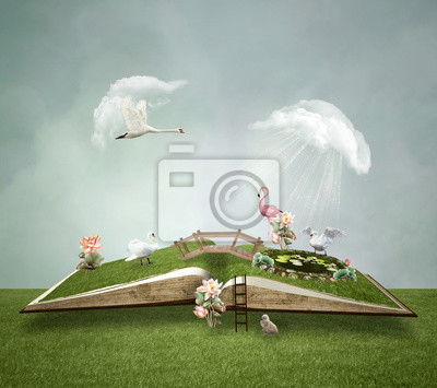 Obraz Open book with little green world inside – 3D illustration