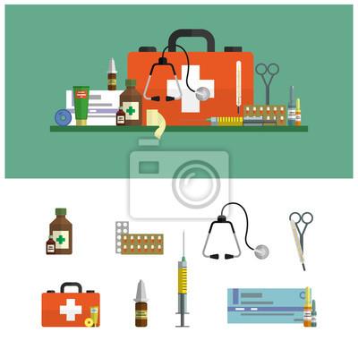 opieki zdrowotnej płaskie banery. Ikony pierwszej pomocy i elementy projektu. Narzędzia medyczne, leki, nożyczki, stetoskop, strzykawka