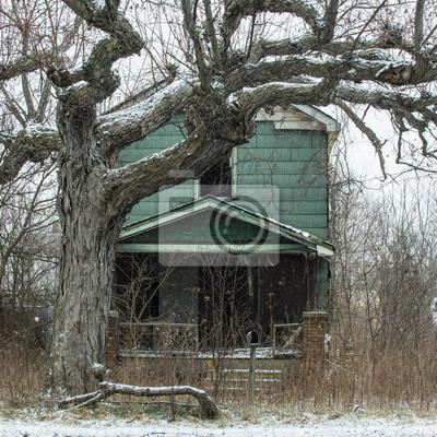 Opuszczony dom i Creepy Drzewo