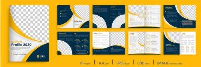 Obraz Orange business brochure template layout design, 16 page corporate brochure editable template layout, minimal business brochure template design.