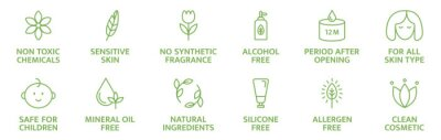 Obraz Organic and natural cosmetic line icons. Skincare symbol. Allergen free badges. Beauty product. Gluten and paraben free cosmetic. Non toxic logo. Eco, vegan label. Sensitive skin. Vector illustration