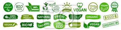 Obraz Organic natural bio labels set icon, healthy foods badges, fresh eco vegetarian food – stock vector