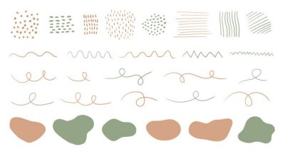Obraz Organic shapes, spots, lines, dots. Vector set of trendy abstract hand drawn elements for graphic design