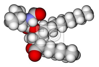 Orlistat (lek leczenie otyłości) 3D struktura molekularna