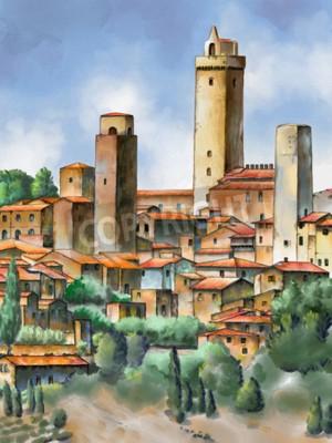 Obraz Oryginalna akwarela przedstawiająca San Gimignano w Toskanii we Włoszech.