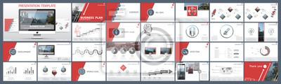 Obraz Oryginalne szablony prezentacji. Zestaw czerwony, elementy infografiki, białe tło. Flier, pocztówka, raport firmowy, marketing, reklama, banner. Pokaz slajdów, fotografia, slajd do broszury, broszury