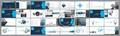 Obraz Oryginalne szablony prezentacji. Zestaw niebieski, elementy infografiki, białe tło. Ulotka, pocztówka, raport korporacyjny, marketing, reklama, baner. Pokaz slajdów, zdjęcie, slajd do broszury, broszu