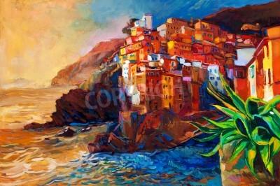 Obraz Oryginalny abstrakcyjny obraz olejny z miejscowości na wybrzeżu Cinque Terre na włoskiej Riviera.Modern impresjonizmu