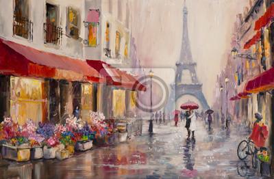 Obraz Oryginalny obraz olejny na płótnie - Paryż - Wieża Eiffla - pary kochanków pod parasolem - Modern Art