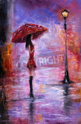 Obraz Oryginalny obraz olejny przedstawiający piękną młodą kobietę w czerwonym, gospodarstwa czerwony parasol w pobliżu latarni na płótnie. Nowoczesne impresjonizm, modernizm, marinizm