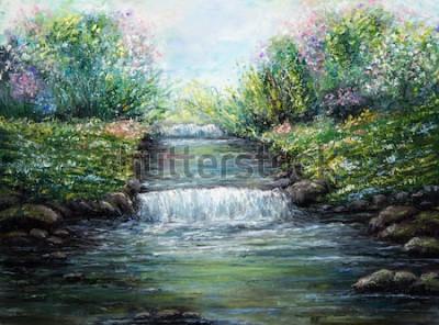 Obraz Oryginalny obraz olejny przedstawiający rzekę wiosną i kwiaty na płótnie. Współczesny impresjonizm, modernizm, marinizm