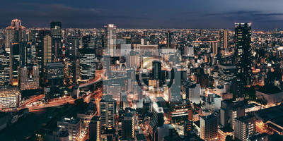 Osaka wgląd nocy na dachu