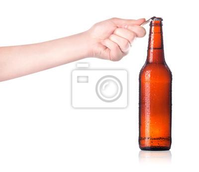Otwarcie butelki z otwieraczem do piwa rękę metalowy