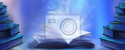 Obraz Otwarta książka z magiczną fantazją. Nocnego widoku ilustracja z książką. Magiczna moc czytania i słów, wiedza. Abstrakcjonistyczny tło z książką.