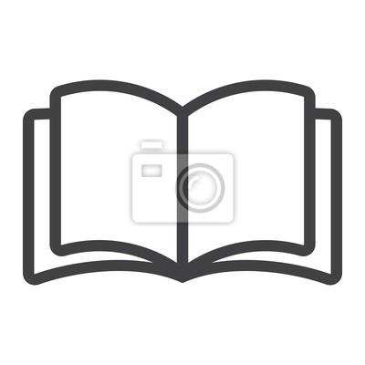 Obraz Otwarta książkowa kreskowa ikona, sieć i wisząca ozdoba, czytają trybu szyldowe wektorowe grafika, liniowy wzór na białym tle, eps 10.