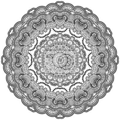 Ozdobne koło koronki na białym tle. Floral mandala